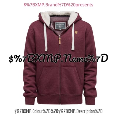 Image of men's hoodie with text and metadata overlays